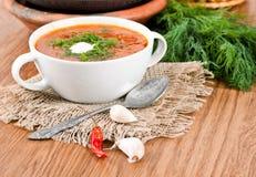 从一棵甜菜和圆白菜的汤用蕃茄 免版税图库摄影