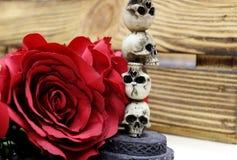 一棵红色人造花在一个木箱前面的一个头骨小雕象旁边说谎 神秘的图片 库存照片