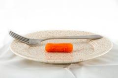一棵红萝卜,一把叉子 免版税库存照片