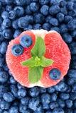 一棵苦涩葡萄柚、甜蓝莓和新鲜薄荷作为背景 滋补柑橘在越桔的中心 免版税库存照片