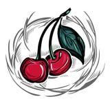 一棵风格化成熟樱桃 免版税库存图片