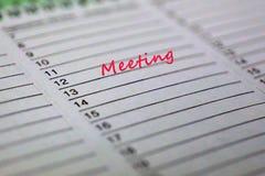 一次会议的概念图象关于日历的 免版税库存图片