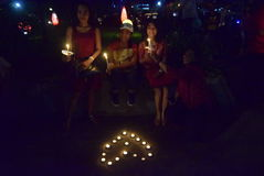 一次平安的蜡烛行动在三宝垄 免版税库存照片
