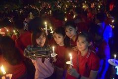 一次平安的蜡烛行动在三宝垄 库存图片