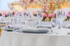 一次庆祝的美妙地装饰的桌在餐馆  库存图片
