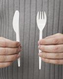 一次性的刀叉餐具 库存图片
