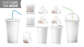 一次性纸杯和茶袋被设置的传染媒介 塑料盖子 外卖软饮料杯模板 开放和闭合的纸 库存图片