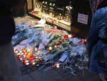一次恐怖分子圣诞节市场攻击的地方在史特拉斯堡 免版税库存照片