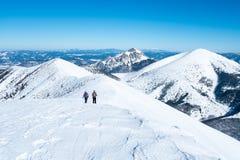 一次旅行的两名妇女在多雪的阿尔卑斯 免版税图库摄影