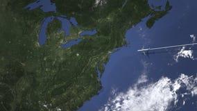 一次民航飞机飞行的路线向匹兹堡,地图的美国,3D动画 向量例证