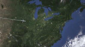 一次民航飞机飞行的路线向匹兹堡,地图的美国 介绍3D动画 库存例证