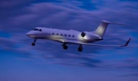 一次私人喷气式飞机飞行的侧视图 库存图片