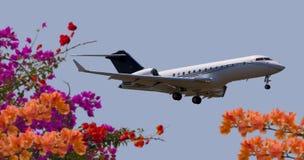 一次私人喷气式飞机飞行的侧视图 图库摄影