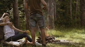 一次野营的朋友 阵营火在夏天 做营火的小组朋友 人临近阵营火 股票录像