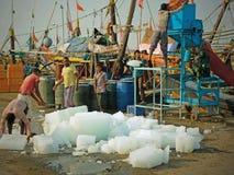 一次钓鱼的冰 库存图片