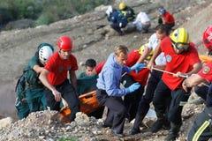 一次致命的直升机失事的抢救在马略卡 免版税图库摄影