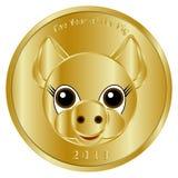 一欢乐金币,奖牌或者象征性热忱对新年2019年,猪的年 它被设计祝贺人克洛 免版税库存照片