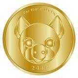 一欢乐金币,奖牌或者象征性热忱对新年2019年,猪的年 它被设计祝贺人克洛 免版税库存图片