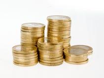 一欧洲硬币堆 库存图片