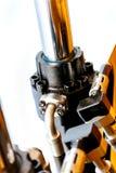 一水力excavat的工业部分的钢管细节 免版税库存照片