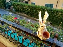 一点一只复活节兔子的木偶在干草的 库存照片