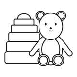一点与堆块颜色的熊女用连杉衬裤 库存例证
