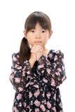 一点亚洲女孩祈祷 免版税库存图片