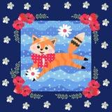 一点使用与雏菊花的橙色小猫 逗人喜爱的补缀品样式 豪华收藏 库存例证