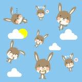 一点兔patternLittle兔样式和云彩在天空 向量例证