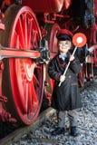 一点列车长男孩 图库摄影