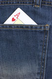 一点卡片。牛仔裤 库存照片