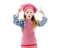 一点厨师女孩情感在白色背景isolted 库存照片