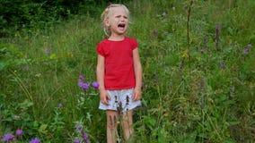 一点哭泣在高草地早熟禾的四岁的女孩 影视素材