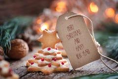 一点圣诞节曲奇饼树 库存图片