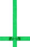 一点在两条横渡的丝带的双重绿色弓 库存图片