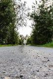 一点在巴伐利亚向一条小街道扔石头 库存图片