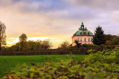 一点城堡Fasanenschlösschen莫里茨堡 免版税库存照片