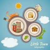 一点城镇Infographics 免版税库存图片