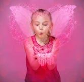 一点天使吹的星在情人节 库存图片