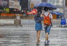 一点夫妇在雨中 免版税图库摄影