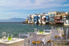 一点威尼斯全景在米科诺斯岛海岛上的 免版税库存图片