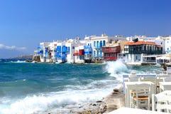 一点威尼斯和刹车的波浪,米科诺斯岛海岛,希腊 图库摄影