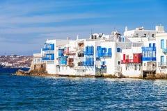 一点威尼斯邻里,米科诺斯岛 免版税库存图片