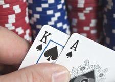 一点拟订打扑克的筹码国王 库存图片