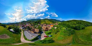 一点村庄Breitenbac 360度球状全景  免版税库存图片