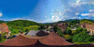 一点村庄Breitenbac 360度球状全景  库存照片