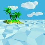 一点棕榈群岛在海 库存图片