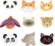 一点滑稽的动物园面孔为婴孩印刷品设置了 免版税库存照片