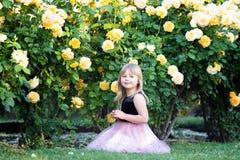 一点白种人女孩坐绿草在一个玫瑰园里在黄色玫瑰丛旁边 接触一朵玫瑰并且看它,微笑 库存照片
