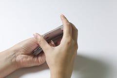 一点看板卡四比赛运气 妇女拖曳卡片组 在一个空白背景 免版税库存照片